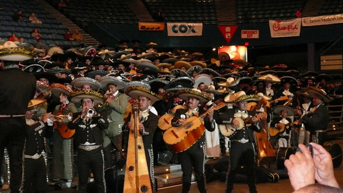 The largest mariachi ensemble performance ever (555 players), in Tucson, circa 2010.
