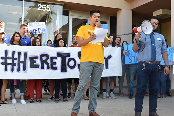 DACA recipient Fernando Najera speaks on the importance of DACA in front of Tucson City Hall on Aug. 29.