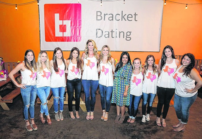 "Whitney Linscott, Bracket founder and ASU alum (third from left) and Shannon White, manager of PR and social media and UA alum, teamed up to launch a new dating app with a ""March Madness"" format."