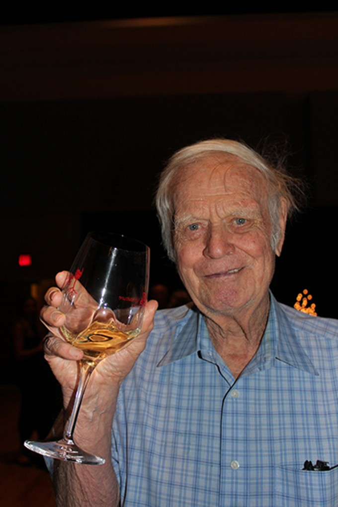 Retired soil scientist, Dr. Gordon Dutt, the acknowledged Father of Arizona's Wine Industry, still enjoys a glass at age 88.