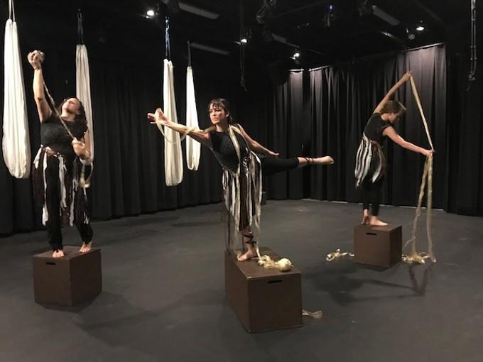 Bethanne Griffin, Sabrina Geoffrion and Elizabeth Vose dance in Woven