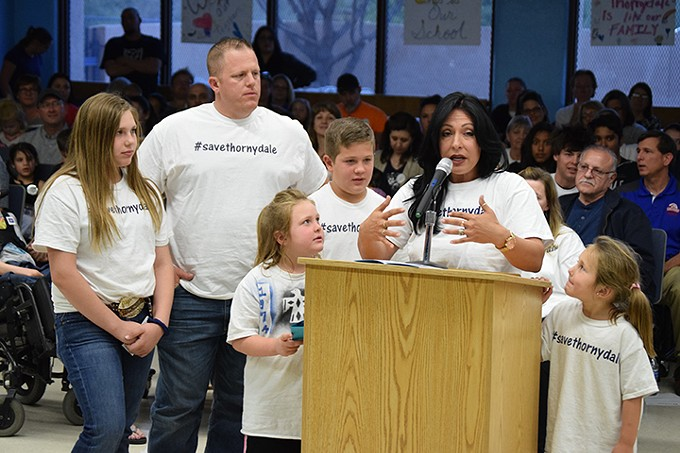 Nicole Pogue and her husband both went to Thornydale as children. At the March 27 Marana Unified School District Governing Board meeting, she said if the school were to close, she would take her four children out of the district.