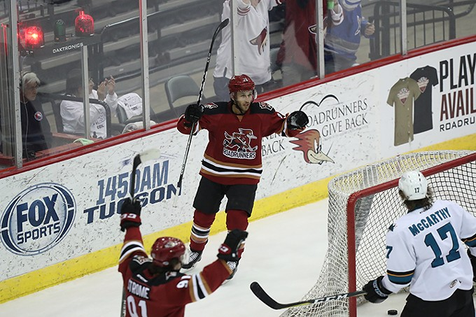 Roadrunners captain Andrew Campbell celebrates a goal last against San Jose Wednesday.