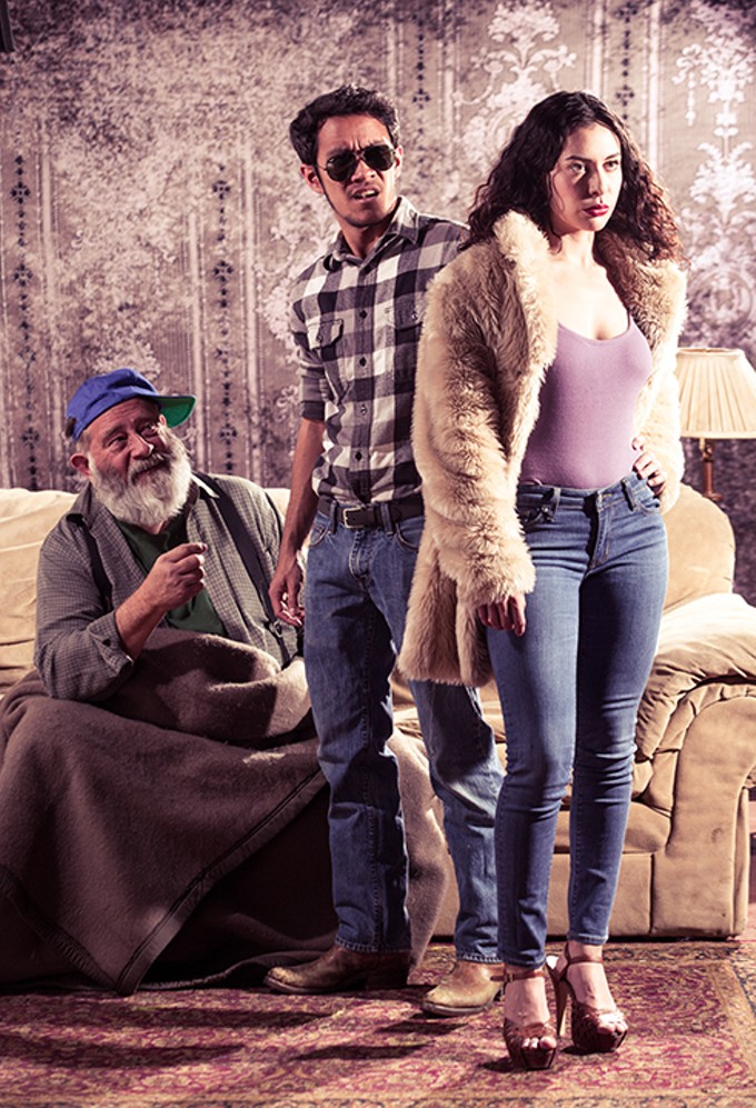 Dodge (Chad Davies), Vince (Cole Potwardowski) and Shelly (Brie Zepeda) in Winding Road's production of Sam Shepherd's Buried Child.