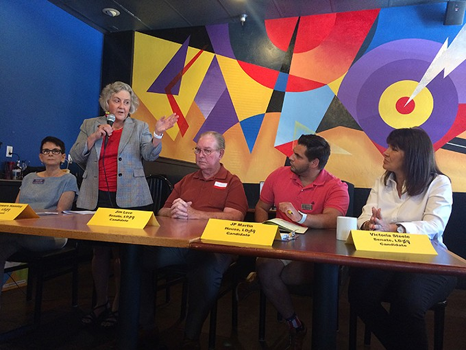 Legislative District 9 candidates make a pitch to voters Saturday, May 12. From left to right: Cheryl Cage stands in for state Rep. Randy Friese, state Rep. Pamela Powers Hannley, Senate candidate Jim Love, House candidate JP Martin and Senate candidate Victoria Steele.