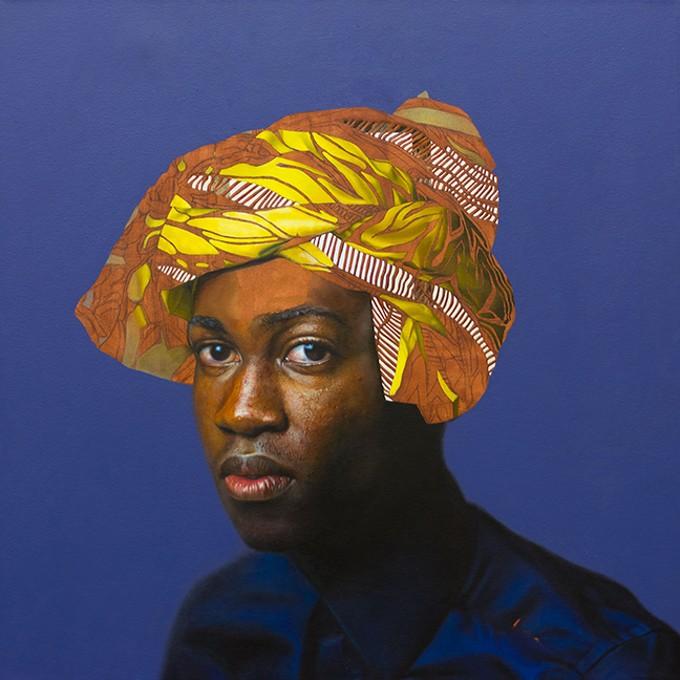 "K.O.S. (Knowledge of Self), Self Portrait Oil on canvas, mirror, 36 x 36"""