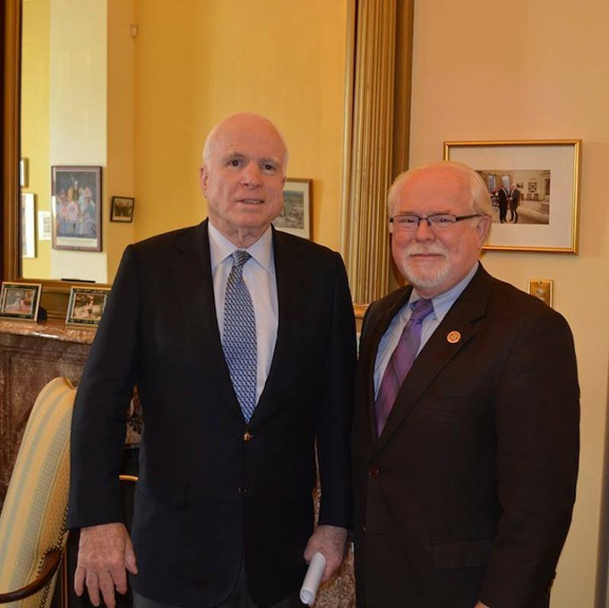 Ron Barber and John McCain in McCain's small office just off the U.S. Senate floor on the day after a House vote for the National Defense Authorization Act that included Barber's amendment to keep the A-10 flying and require a GSA study to examine the utility of the plane in current warfare.