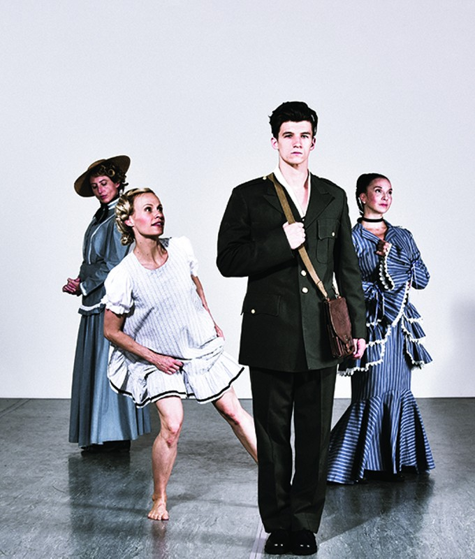 """Artifact dancers Ashley Bowman, Rebekah Belanger, Jeffery Griffith and Claire Hancock perform in """"A Painted Devil"""" in next week's concert."""