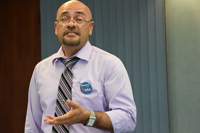 "Manny Mejias, the re-entry coordinator for the Pima County Cirminal Justice Reform Unit and a former felon: ""The right to vote gives me a voice."""