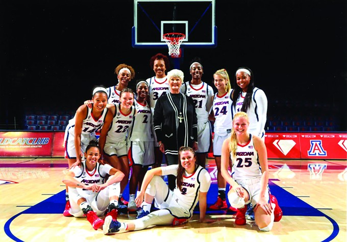 Judith Blair and the University of Arizona womens basketball team.