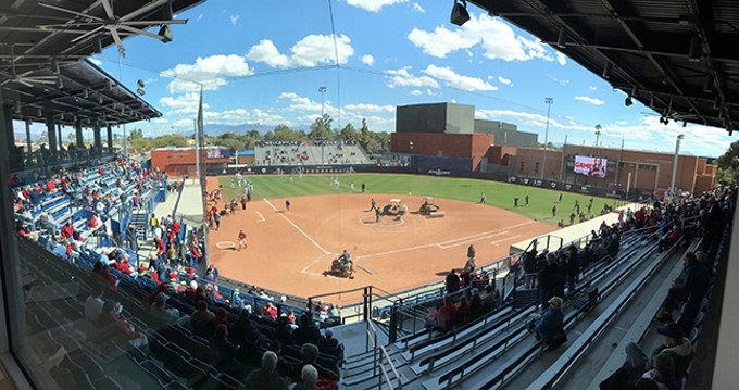 The University of Arizona softball program played its first games in the rebuilt Rita Hillenbrand Stadium over the weekend