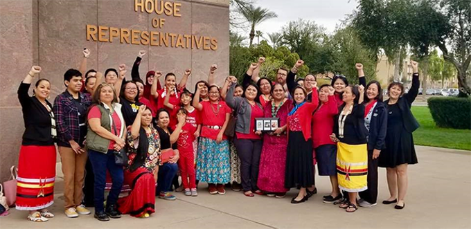 Tribal members and supporters of H.B. 2570 celebrate its passage in the Arizona House of Representatives.