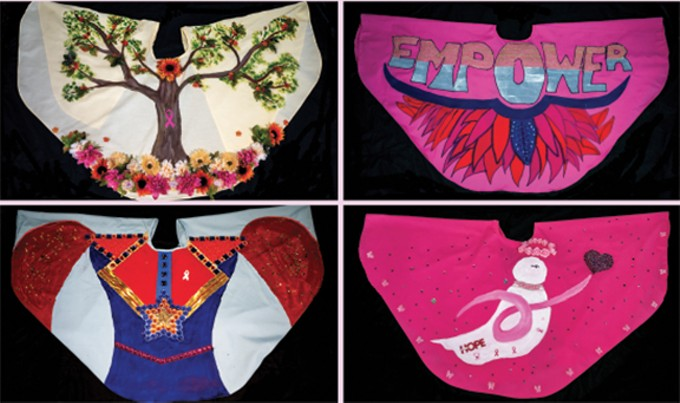 These are just four of the 75 mammocapes that will be on display at the Ventana Gallery at Roche Tissue Diagnostics. While there is no limit on the materials or techniques used for the mammocape art pieces, thematic suggestions include the strength and stories of survivors and those fighting breast cancer. The art work was designed by both professional and amateur artists. Throughout the exhibit, the mammoscapes will be silently auctioned to raise funds for uninsured and under-insured women at El Rio Health Center.