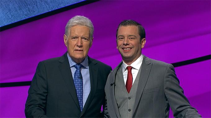 Eric Smith with Jeopardy! legend Alex Trebek