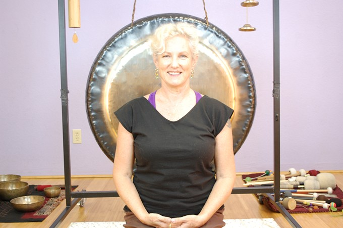 Danielle Dvorak leads a calming session using gong and Tibetan SInging Bowls.