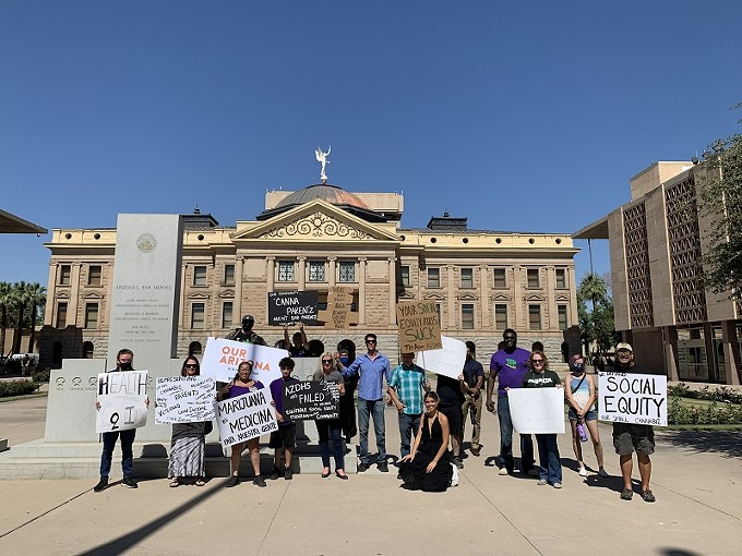 A group of cannabis advocates and representatives of Arizona NORML were in Phoenix on Thursday, May 27 to protest draft rules of the social equity program intended to help communities adversely affected by the war on drugs.