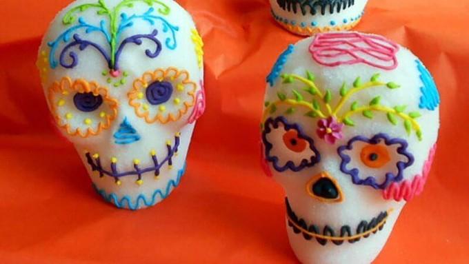 Decorated sugar skulls