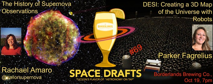 SpaceDrafts October Flyer - Talks on The History of Supernovae Observations (Rachael Amaro) and DESI: Creating a 3D Map of the Universe with Robots (Parker Fagrelius)