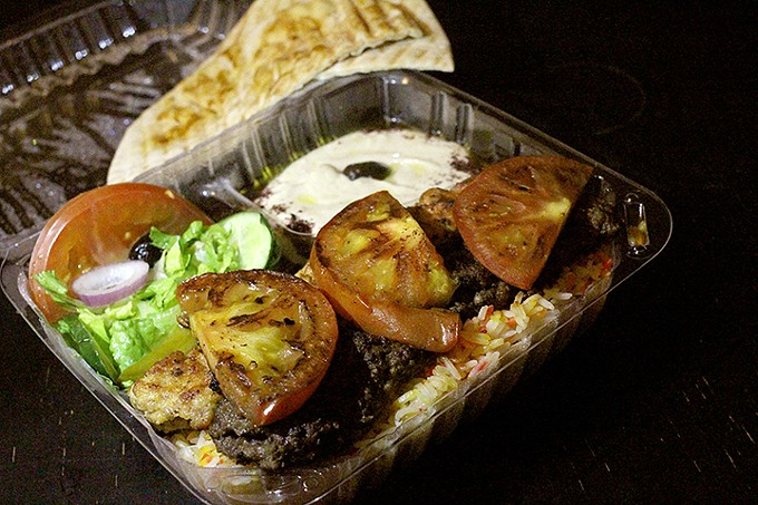 The combo plate at Babylon Market offers options and variety with Middle Eastern flavor.