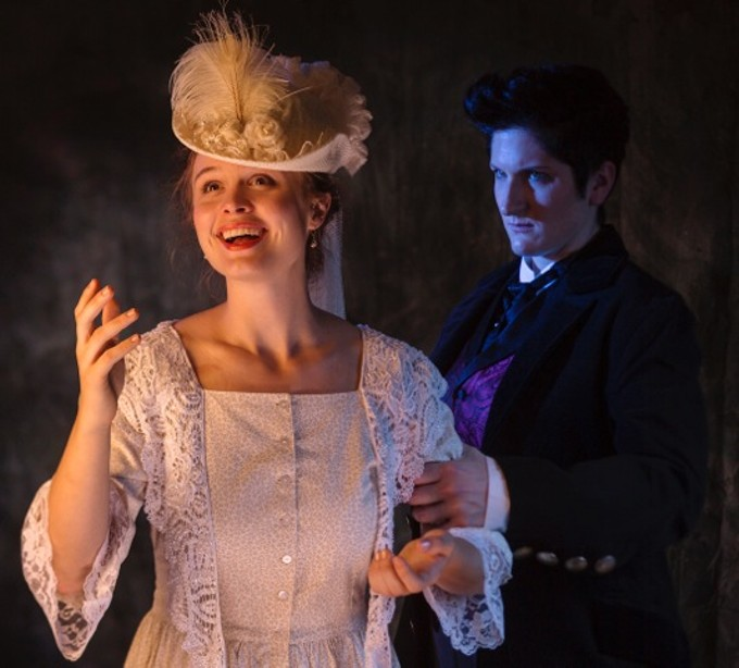 Danielle Dryer as Dorian Gray, Joseph McGrath as Lord Henry Wotton and Dylan Page as Sybil Vane.