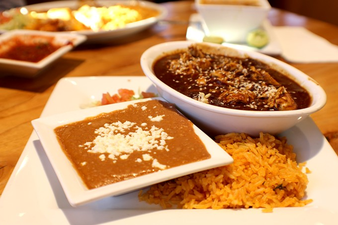 The mole poblano at Los Portales is homey and sweet.