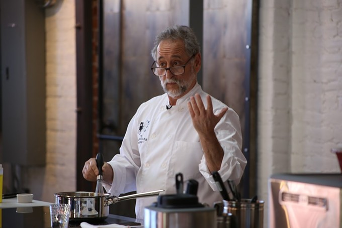 Chef Janos Wilder demonstrates the preparation of some of his best dishes in a Carriage House cooking class.
