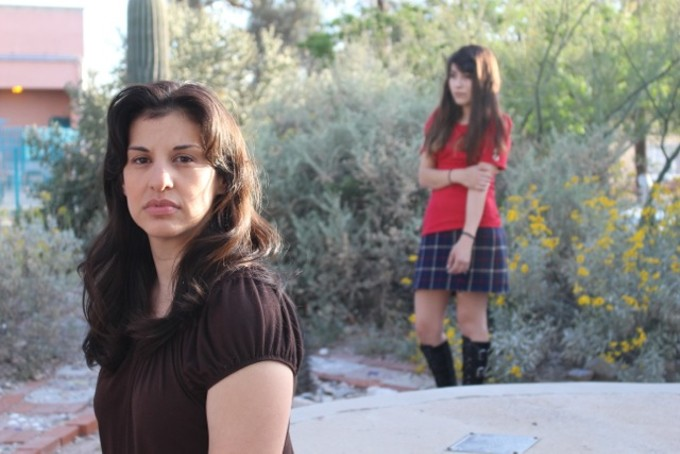 Juanda and Raquel played by Ericka Quintero and Perla Barraza in the Borderlands' production The Ghosts of Lote Bravo.