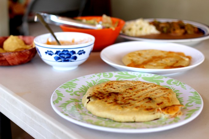 Salvadoran pupusas with some Sonoran style served up at the Tohono O'odham Swap Meet