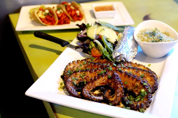 A whole grilled octopus and al pastor-style shrimp pack a punch at El Berraco.