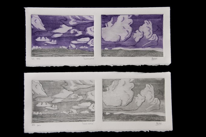 """Cloud World II,"" etching by ADMO-Adrian Morris."