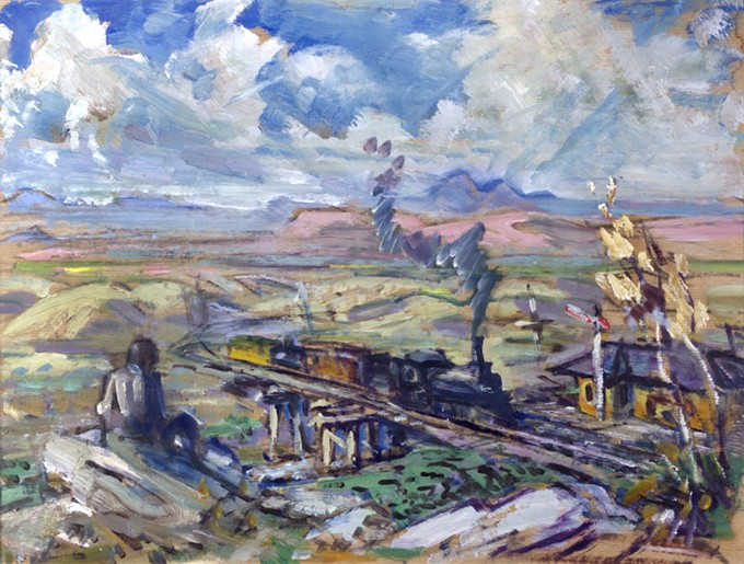 """""""Train Station"""" by Ray Strang, oil on paper, c. 1950. Collection of Tucson Museum of Art. Gift of Mrs. Dorothy Gibson."""