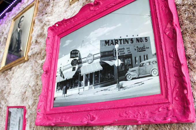 Lot's of fuzz and history on the walls of Martin Drug Co.