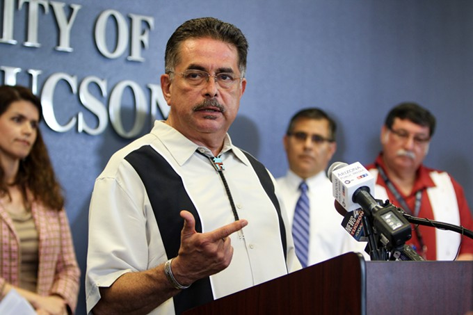 "District 5 Supervisor Richard Elías speaks at a June 6 press conference, announcing the joint resolution to oppose the ""abomination that is the border wall"" and stand together with the people of the region."