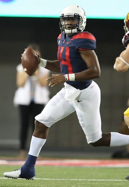 Arizona quarterback Khalil Tate readies a throw against the University of Southern California on Saturday, Sept. 30. - ARIZONA ATHLETICS