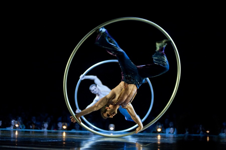 Cyr Wheel: Five artists perform solos and group figures on Cyr wheels. - COURTESY CIRQUE DU SOLEIL