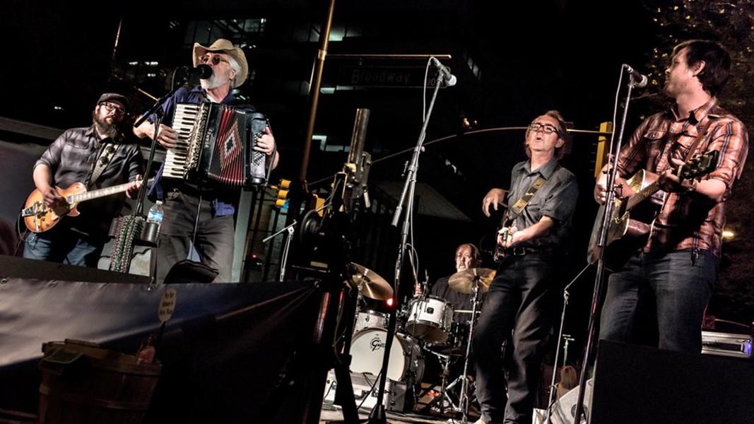 2nd Saturday, Tucson, AZ, Oct. 2017. Joe Fanning, Gary Mackender, Les Merrihew, Karl Hoffmann, Björgvin Benediktsson - THE CARNIVALEROS TRIO