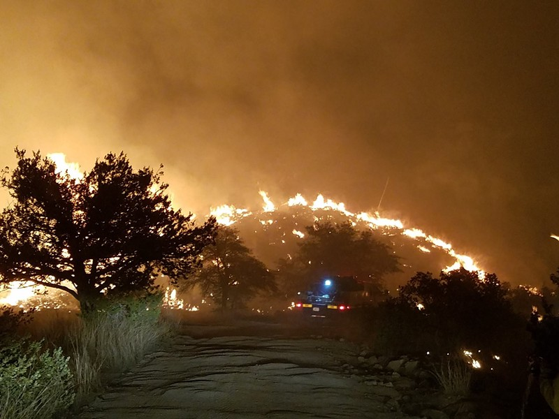 The Burro Fire burning east of Tucson in Redington Pass. - COURTESY BURRO FIRE INFO FACEBOOK PAGE