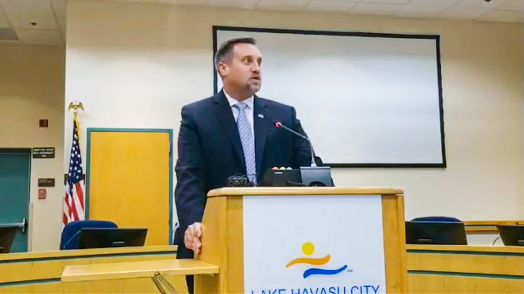 Lon Weigand, deputy special agent in charge for Homeland Security Investigations (HSI) in Arizona, praises a multiagency sex-trafficking investigation at a Sept. 25, 2018, news conference in Lake Havasu City. Although nine people were arrested in the yearslong investigation, most charges were dropped when lurid details of agents' behavior came to light. - (SOURCE: HAVASU SCANNER FEED)