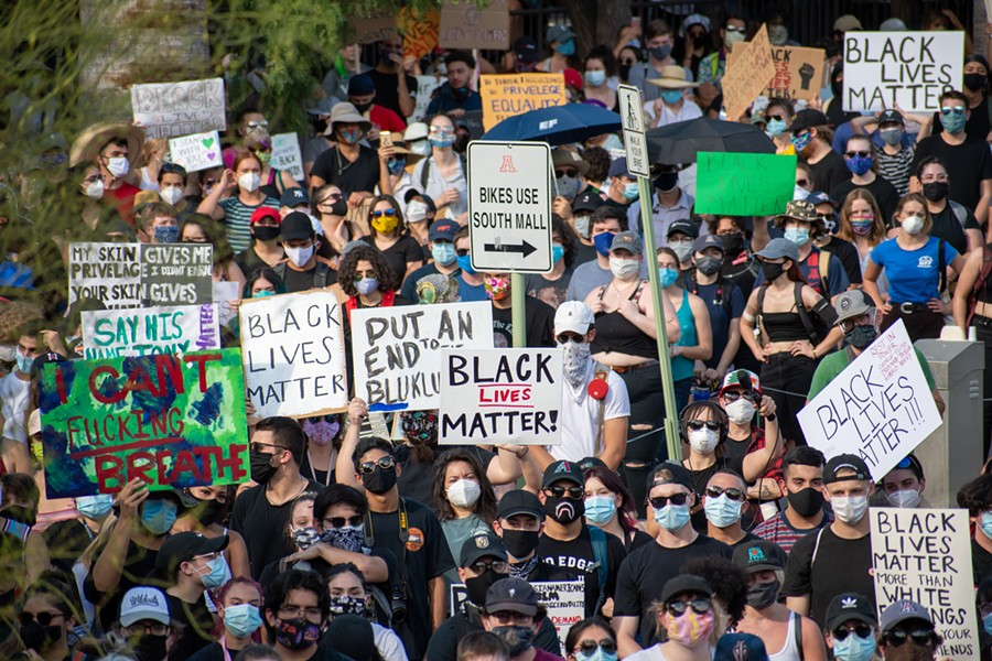 Well over 1,000 Tucsonans attended the March For Justice Tucson rally on Wednesday, June 3. - LOGAN BURTCH-BUUS