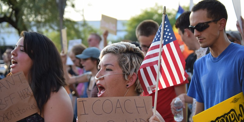 People marched for Dreamers, in Tucson in September 2017, when Trump announced an end to DACA. Activists continue the fight today, with the March 5 deadline approaching and little tangible progress being made in Congress.