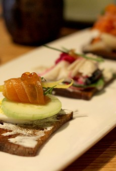 Smoked fish took center stage atop Barrio rye bread for one of the starters on Downtown's Moscow menu.