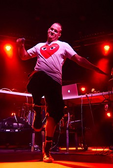 Hip hop artist Souleye gets into the music during his set on the Jade Stage. Souleye describes his music as a fusion of hip hop, electronic dance music (EDM) and funk.