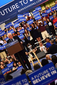 Sen. Bernie Sanders speaks to an excited crowd of thousands in the Tucson Convention Center.