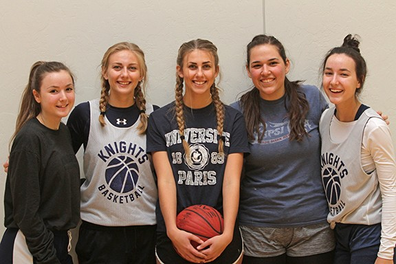 The Immaculate Heart girls basketball team, left to right: Therese Martin, Catie Haynes, Emily Haynes, Grace Aroz and Sarah Martin.