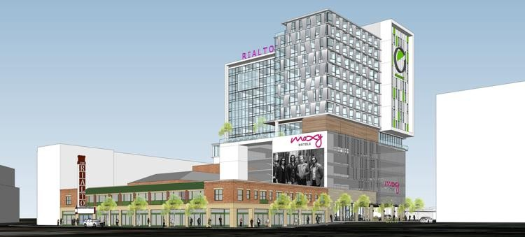 Showtime: Rendering of the proposed 16-story hotel property that will incorporate the Rialto Theatre. - COURTESY ILLUSTRATION