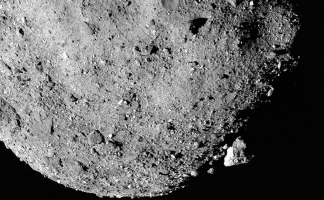 A closeup of Bennu, showing the asteroid's rough surface with many boulders over 30 feet long.
