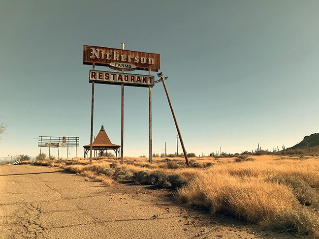 The ruins of a Nickerson Farms restaurant that closed in the early 1980s continue to decay along I-10.