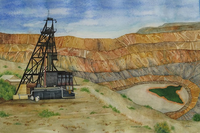 """""""Bisbee Copper Mine Shaft,"""" watercolor by Fiona Lovelock, on exhibit in Copper State, continuing at Tohono Chul Park Exhibit House through Feb. 6 - FIONA LOVELOCK"""