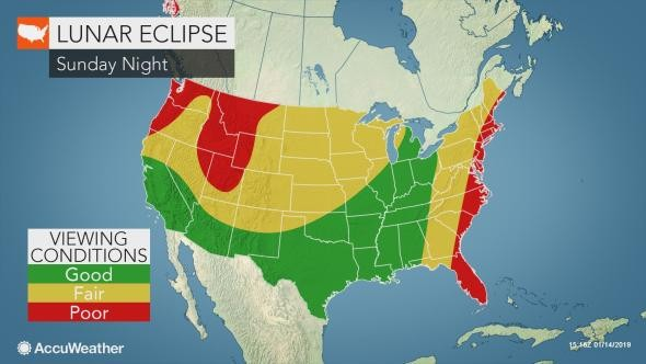 Tucson is in the perfect spot for viewers to see the lunar eclipse clearly. - COURTESY OF ACCUWEATHER