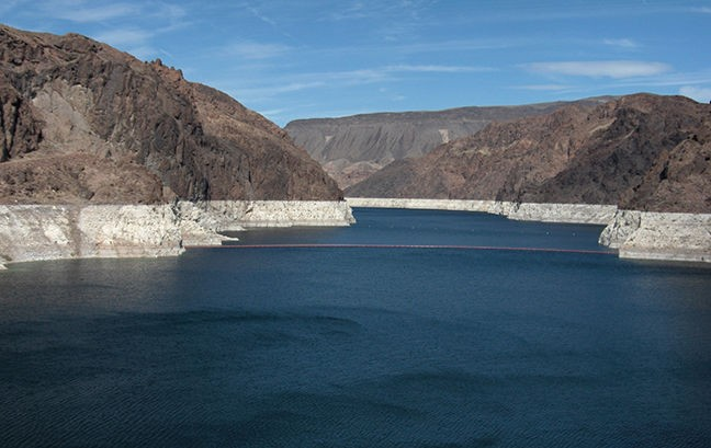 The lowered water level at Lake Mead.